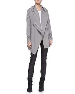 Helmut Lang Villous Oversize Hooded Cardigan, Kinetic Jersey Long-Sleeve Top & Leather-Front Ponte Skinny Pants
