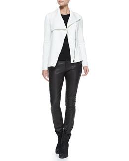 Helmut Lang Villous Front-Zip Crepe Jacket & Leather-Front Ponte Skinny Pants