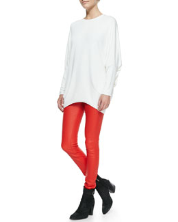 Helmut Lang Villous Long-Sleeve Knit Top & Contrast-Waist Leather Leggings