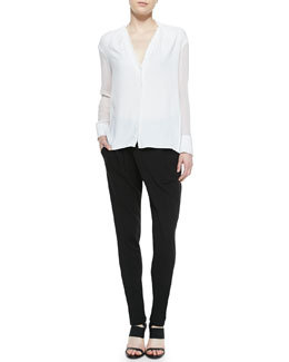 Helmut Lang Morse Sheer-Sleeve Blouse & Villous Wrap-Front Sweatpants