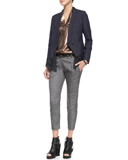 Brunello Cucinelli Silk-Ruffle Jacket, Lamé Blouse, Slim Donegal Pants, Mixed-Bead Wrap Bracelet & Felt Bowler Hat