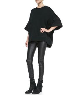 Helmut Lang Waft Oversize Knit Sweatshirt & Stretch-Leather Skinny Pants