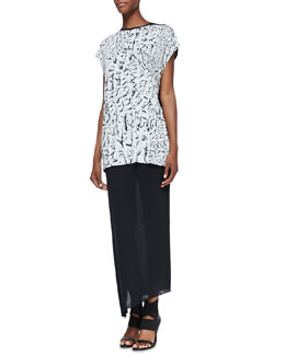 Helmut Lang Strata Printed/Solid Slub Tank & Kinetic Jersey Long Wrap Skirt