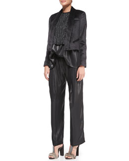 Brunello Cucinelli Alpaca-Blend Tuxedo Jacket, Marbled-Embroidered Top, Lamé Trapeze Top & Pleated Wide-Leg Lamé Pants