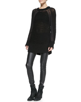 Helmut Lang Chunky Knit Pullover Sweater & Stretch-Leather Skinny Pants