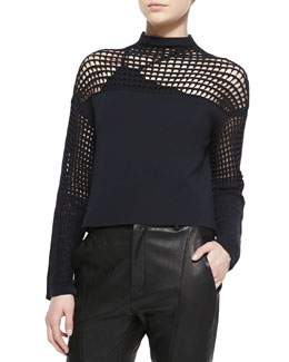 Helmut Lang Grid-Pattern Cropped Sweater & Asymmetric Jersey Bra Top