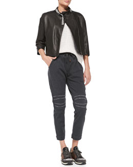 Brunello Cucinelli Monili-Collar Leather Jacket, Monili-Trim Knit Paillette Sweater, Monili Moto-Knee Spa Pants & Ribbed Cashmere Crystal-Flower Skullcap
