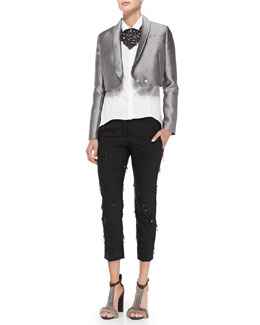 Brunello Cucinelli Cropped Satin Jacket, Poplin Cylinder Blouse, Sequined-Fringe Pants & Crystal Bib Necklace