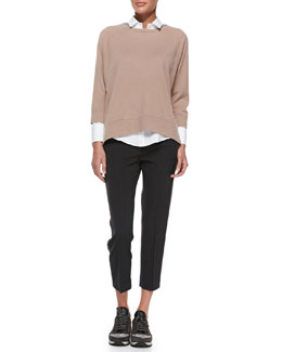 Brunello Cucinelli Ribbed Paillette Knit Skull Cap, Cashmere Monili-Trim Swing Sweater, Monili-Trim Tuxedo Blouse & Pinstriped Racing-Stripe Pants