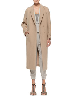 Brunello Cucinelli Long Dropped-Shoulder Coat and Cap-Sleeve Monili-Inset Jumpsuit