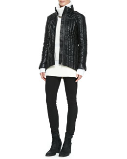 Helmut Lang Leather Puffer Jacket, Smooth/Chunky Knit Turtleneck Sweater & Batwash Skinny-Leg Denim Jeans