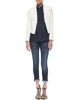 Brunello Cucinelli Cropped Crepe Tuxedo Jacket, Denim Tuxedo Blouse & Classic 5-Pocket Jeans