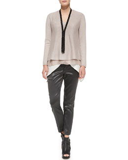 Brunello Cucinelli Sweater with Silk Underlay, Satin Crisscross Tank, V-Neck Satin Top & Satin Cigarette Pants