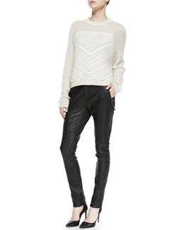 Helmut Lang Mixed-Knit Fuzzy Pullover & Seamed Slim Leather Moto Pants