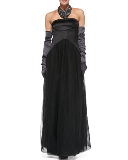 Brunello Cucinelli Strapless Tail-Back Gown, Satin Evening Gloves & Crystal Bib Necklace