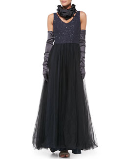 Brunello Cucinelli Paillette-Bodice Tulle Gown, Silk Petal Collar & Satin Evening Gloves