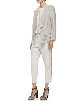 Brunello Cucinelli Suede Jacket with Silk Vest, Tiered-Back Blouse, Paillette-Stripe Pants, Y-Drop Necklace & Felted Bowler Hat