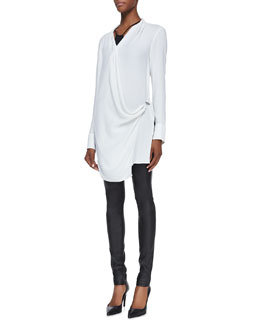 Helmut Lang Morse Long-Sleeve Draped Top & Stretch-Leather Skinny Pants