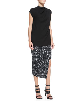 Helmut Lang Morse Leather-Neck Crepe Top & Strata-Print Asymmetric Wrap Midi Skirt