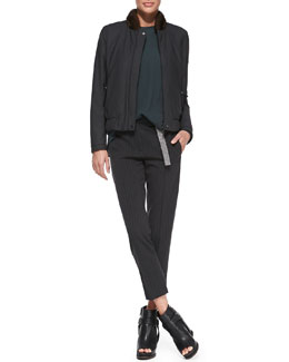 Brunello Cucinelli Reversible Fur-Collar Puffer Jacket, Suspender-Detail Top & Monili-Belt Pinstripe Ankle Pants