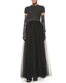 Brunello Cucinelli Short-Sleeve Paillette-Top Tulle Gown & Satin Evening Gloves