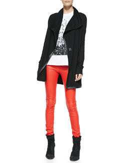 Helmut Lang Leather-Trim Long Wool Cardigan, Pact Jersey Wide Tank & Contrast-Waist Leather Leggings