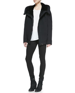 Helmut Lang Magna Fur-Trim Tech Jacket, Kinetic Jersey Long-Sleeve Top & Bat Wash Skinny-Leg Denim Jeans