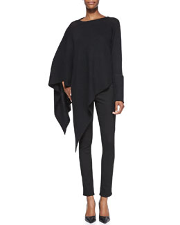 Helmut Lang Soft Blend Knit Poncho & Bat Wash Skinny-Leg Denim Jeans