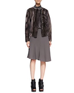 Brunello Cucinelli Mink Fur Marbled Jacket, Swing-Skirt Dress, Mixed-Bead Necklace & Jasper/Agate Necklace