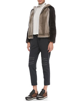 Brunello Cucinelli Hooded Mink Colorblock Jacket, Mock-Neck Cutout Trapeze Top & Monili Moto-Knee Spa Pants