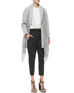 Brunello Cucinelli Felted Car Coat, Tuxedo-Bib Top, Pleated Carrot Pants, Metallic Printed Scarf & Metallic Leather Belt