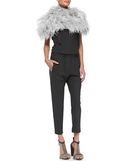 Brunello Cucinelli Ostrich Feather Knit Capelet, Gathered-Back Overalls & Sleeveless T-Shirt