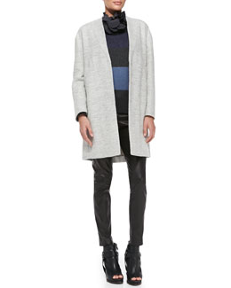 Brunello Cucinelli Felted Car Coat, Striped Sweater with Collar & Leather Skinny Pants
