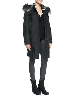 Helmut Lang Ultimate Fur-Trim Zip Coat, Draped Kinetic Jersey Top & Coated Stretch Legging Jeans