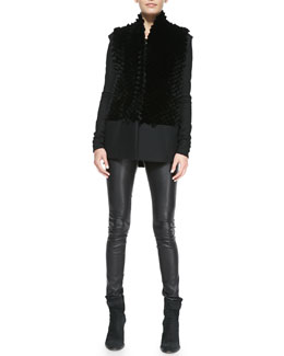 Helmut Lang Pike Felt/Fur Vest, Tilt Deep-V Leather/Knit Top & Stretch-Leather Skinny Pants