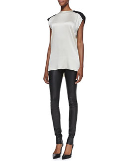 Helmut Lang Gravel Silk Sleeveless Top & Stretch-Leather Skinny Pants