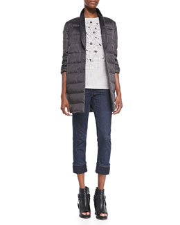 Brunello Cucinelli Reversible Puffer Coat, Cashmere Crystal Sweater & Polka Dot-Cuff Ankle Jeans
