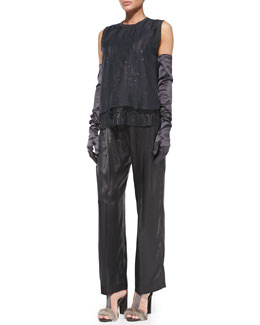 Brunello Cucinelli Embroidered Layered Combo Top, Wide-Leg Lamé Pants & Satin Evening Gloves