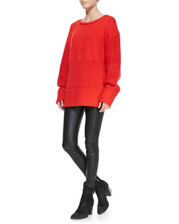 Helmut Lang Opacity Mixed-Knit Pullover Sweater & Stretch-Leather Skinny Pants