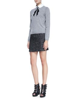 Alice + Olivia Ribbon Bow Knit Sweater & Tweed Clean Fitted Skirt