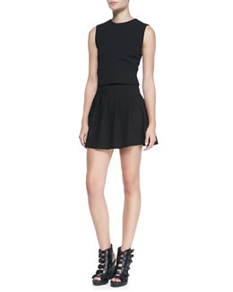 Alice + Olivia Jersey Crewneck Cropped Top & Jersey High-Waist Fit-&-Flared Skirt