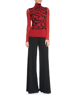 Jean Paul Gaultier Long-Sleeve Graffiti Turtleneck & Palazzo Pants
