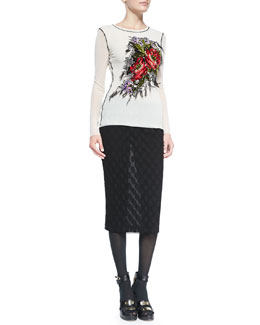 Jean Paul Gaultier Long-Sleeve Floral-Embroidered Top & Polka Dot-Textured Skirt with Fold-Over Waist