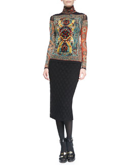 Jean Paul Gaultier Long-Sleeve Tile-Print Top with Flocking & Polka Dot-Textured Skirt with Fold-Over Waist