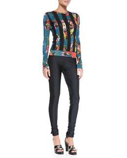 Jean Paul Gaultier Floral-Print Dot-Striped Top & Side Cutout Leggings
