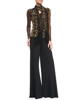 Jean Paul Gaultier Leopard-Print V-Neck Top with Scarf & Palazzo Pants