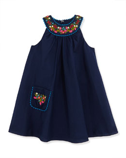 Ralph Lauren Childrenswear Girls' Floral Embroidered Batiste Dress, Newport Navy