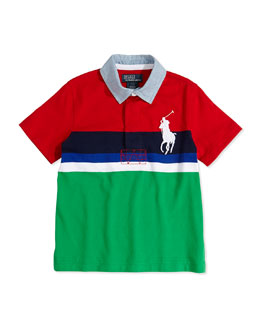 Ralph Lauren Childrenswear Boys' Rugby-Collar Striped Polo