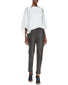 Halston Heritage Slit-Shoulder Layered Silk Blouse & Tapered Slim Leather Pants