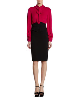 Gucci Slit-Sleeve Blouse & Butterfly-Waist Skirt